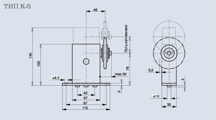 Схема натяжителя цепи Spann-Box РАЗМЕР 1 с зубчатым колесом K-S