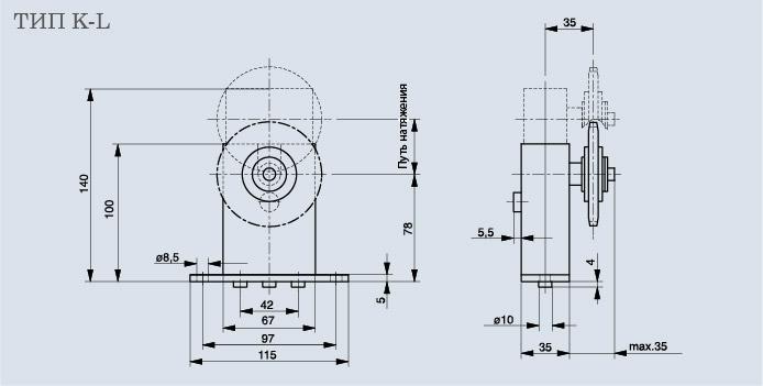 Схема натяжителя цепи Spann-Box РАЗМЕР 1 с зубчатым колесом