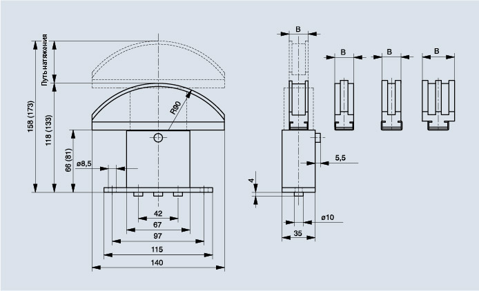 Схема натяжителя цепи Spann-Box РАЗМЕР 1 с изогнутым профилем