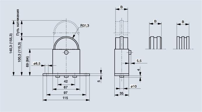 Схема натяжителя цепи Spann-Box РАЗМЕР 1 с полукруглым профилем