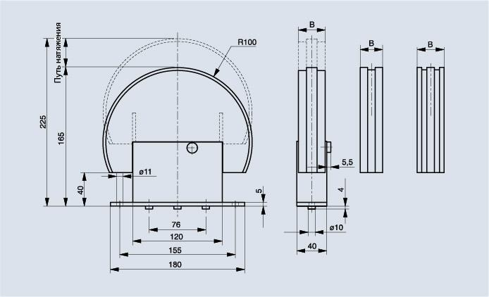 Схема натяжителя цепи Spann-Box РАЗМЕР 2 С обводным профилем 180°