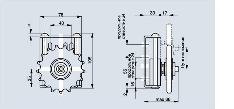 Схема натяжителя цепи Spann-Boy TS с зубчатым колесом
