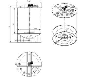 Реактор с мешалкой | конусное дно, плоская крыша, плотность среды до 1300 кг/м3, объём 12,5