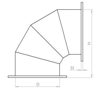 Отвод 90 круглый полипропиленовый | Фланцевое соединение,  8.3