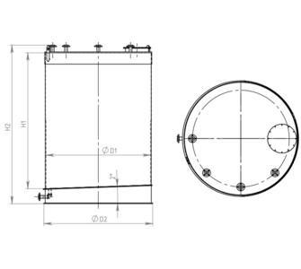 Ёмкость полипропиленовая | наклонное дно, плоская крыша, плотность среды до 1000 кг/м3, объём 5
