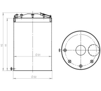 Ёмкость полипропиленовая | плоское дно, конусная крыша, плотность среды до 1200 кг/м3, объём 12,5