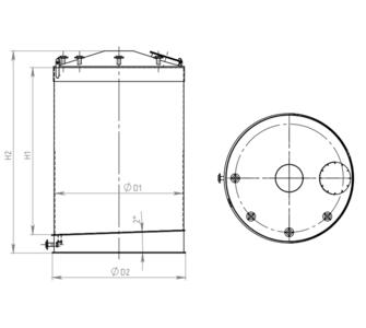 Ёмкость полипропиленовая | наклонное дно, конусная крыша, плотность среды до 1000 кг/м3, объём 4