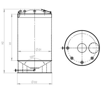 Ёмкость полипропиленовая | конусное дно, конусная крыша, плотность среды до 1200 кг/м3, объём 5
