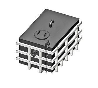 Прямоугольная ёмкость полипропиленовая в каркасе из стали | плотность среды до 1200 кг/м3, объём 15