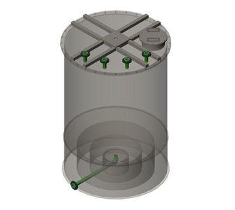 Реактор полипропиленовый | конусное дно, плоская крыша, плотность среды до 1300 кг/м3, объём 2