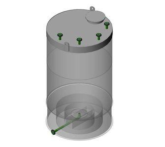 Ёмкость полипропиленовая | конусное дно, плоская крыша, плотность среды до 1000 кг/м3, объём 25