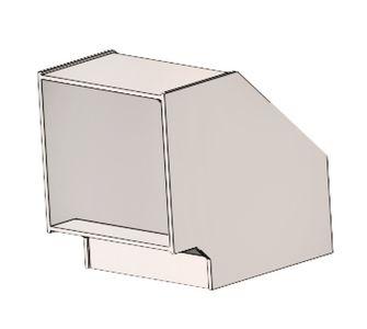 Отвод 90 прямоугольный полипропиленовый | Без соединения,  68.9