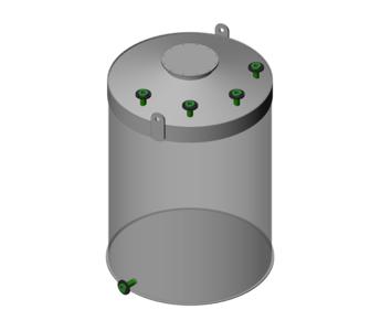 Ёмкость полипропиленовая | плоское дно, конусная крыша, плотность среды до 1000 кг/м3, объём 20